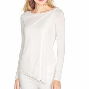 Cream Split Front Knit Sweater WHBM